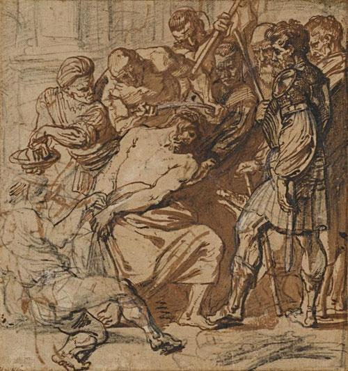 Pluma con tinta marrón sobre lápiz negro, aguada marrón y toques de albayalde.Van Dyck.1618