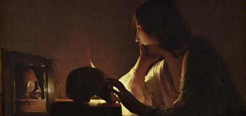 """El frio escetismo de esta Magdalena penitente,refleja el clima religioso de Lorena,ciudad natal, en relación con el convento de Nancy fundado en 1624,refugio para """"mujeres perdidas""""El deseo de arrepentimiento a la luz de la vela, medita sobre calavera..."""