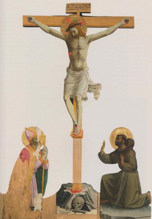 Este grupo de crucifixión se recortó originalmente los contornos para simular escultura pintada.Presenta una potente presencia real para un club juvenil que podrían ser los boy scouts actuales regentados por el humanista Traversari.
