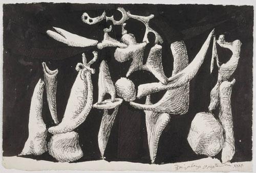 La crucifixión.1932.Pluma y tinta china sobre papel.34x51cm. Museo Nacional Picasso Paris.Fue su única obra religiosa, simetría invertida con el cuerpo de Cristo, la cruz se vuelve madero retorcido..