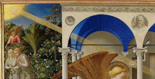 """Fra Angelico Anunciación 1425-26.Son las manos del Padre las que envían a su Hijo hacia el oído de María. Como dice San Agustín""""María concibió por su fe"""", o como dice San Pablo en la Carta a los Romanos """"Fides ex auditu"""", la fe por el oído."""