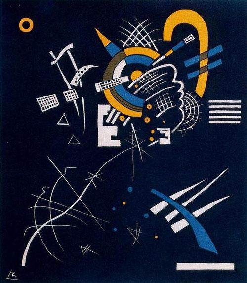Pequeños mundos VII 1922.Xilografia en color.34x27cm.Legado de Nina Kandinsky.La música y el lenguaje pictórico debían iluminarse y  potenciarse mutuamente con acordes disonantes.