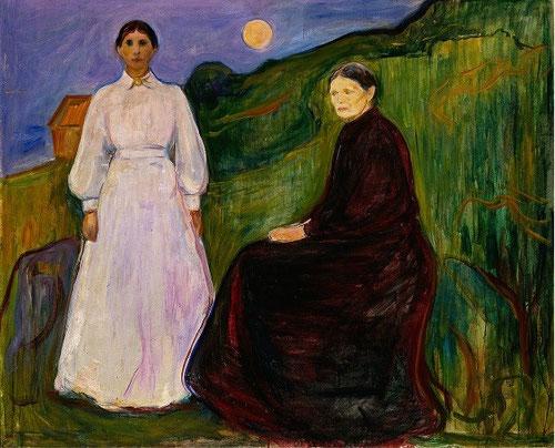 También en Madre e hija,1897,un paisaje esquematizado y simbólico incrementa la soledad de las dos figuras,su hermana Inger y su tia Karen todo un referente en su carrera artística.