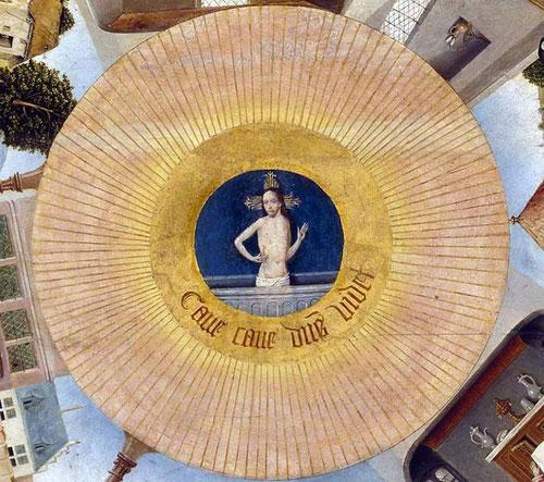 Tres círculos concentricos representan el ojo de Dios,en el centro Cristo muestra sus heridas saliendo del sepulcro.Cave,cave,Dominus videt.Cuidado,cuidado el Señor te ve.La esfera los pecados capitales:ira,soberbia,lujuria,pereza,gula,avaricia y envidia.