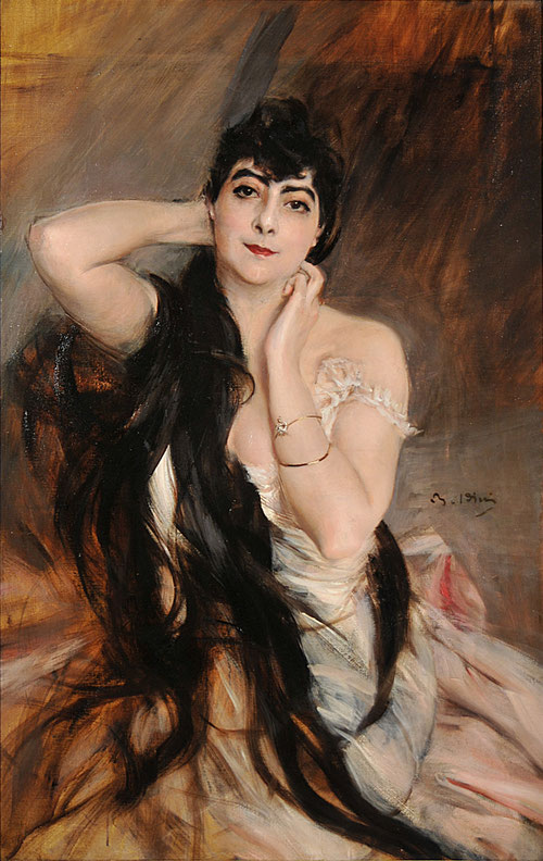 Giovanni Boldinni.Retrato de la marquesa de Rochefort-Lucay 1896. Óleo sobre lienzo,112x72cm.Galeria Nacional de Arte Moderno y Contemporáneo,Roma.