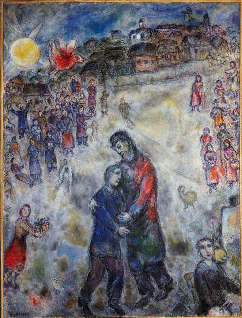 También Marc Chagall , judio ruso que se acerca con respeto a la tradición cristiana, le seduce la parábola del Hijo Pródigo.Pintado 1976.Colección privada.122x162cm Vuelve a su país despues de exiliado y decepcionado.