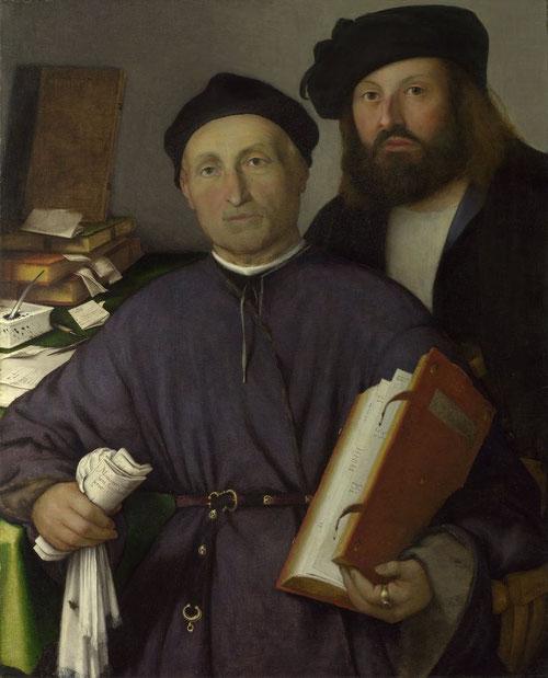 """Giovani Agostino della Torre con su hijo nícolo 1515.Óleo 85x68cm.Dos personas inteligentes y receptivas con meticulosa atención a los detalles.Las palabras diegéticas describen a los personajes, miembros del Colegio de Médicos """"Rx"""" abreviatura de recetas"""