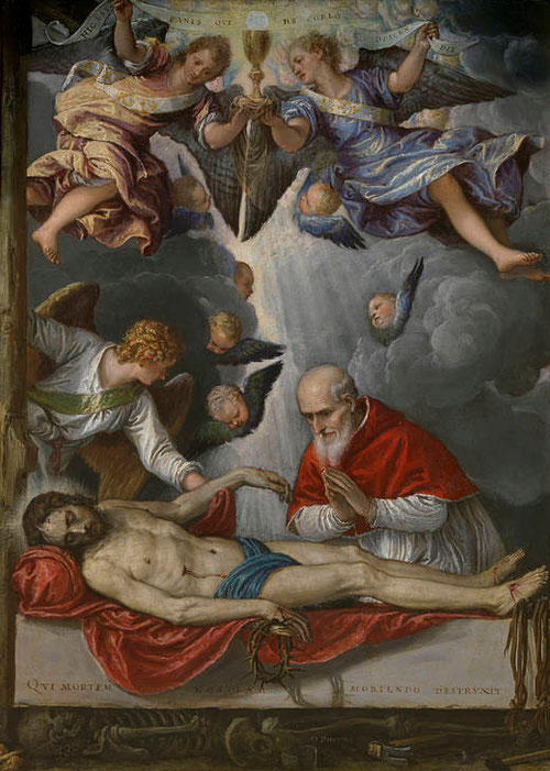 Michelle Parrasio.Venecia 1516-1578.Cristo yacente adorado por el Papa Pio V.Colección Real.Cuadro de devoción.Óleo sobre lámina de cobre de reducidas dimensiones 42cmx30cm