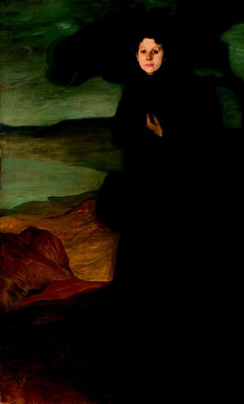 Retrato de Valentine Dethomas,1895. Óleo sobre lienzo.200x120cm.Colección particular. Una de las obras que mejor representan la influencia del simbolismo..ya expone en galerias junto a Gauguin, Maurice Denice,Vuillard,Émile Bernard.Descentraliza el lienzo