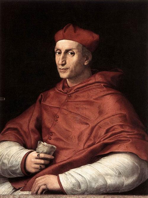 """Cardenal Bernardo Dovizi da Bibbiena, 1516. Rafeal. Óleo sobre lienzo. 86x65cm. Palacio Pitti. Incrito en la carta: """"Sanctissimo domino nostro Papa"""" Este fue el mecenas más importante de Rafael despues del propio Leon X. Dotes diplomáticas e ingenioso."""