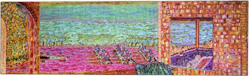 Pierre Bonnard en Le Cannet.La terraza soleada 1939-1945.Óleo sobre lienzo,72x236cm.Colección particular. Los viajes hacia el sur no sólo para escritores o pintores sino para la alta burguesía que busca placeres y emociones en las aguas del sur...