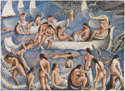 """Salvador Dalí.Bañistas de Es Llaner,1923.öleo sobre cartón de madera contrachapado.73x101cm.Fundación Gala, Salvador Dalí.Figueras. También Dalí queda hechizado en toda su obra por el Mediterráneo...un nuevo orden """"el seny"""",la cordura frente al arrebato."""