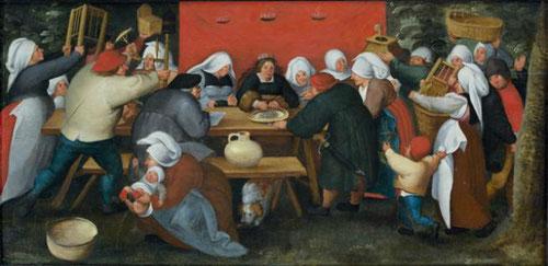 Marten Van Cleve.1568.Banquete de la boda. 33x68cm. Colección privada.