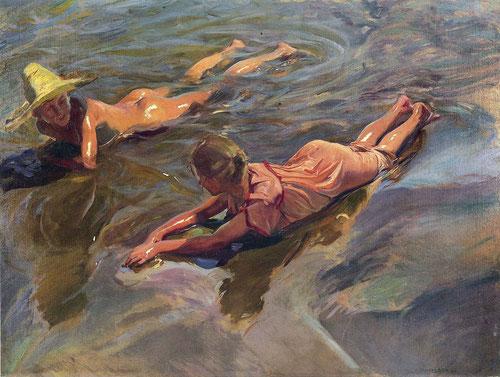 Sorolla,Idilio en el mar 1908.Radiantes escenas de playa,audacia en su pincelada expresiva,ángulos de visión abruptos,desde un punto de vista oblícuo.