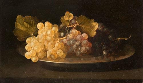 Juan de Zurbarán hijo.Plato de uvas,1639,col.privada.Magnífico bodegón de dimensiones pequeñas sobre plancha de cobre,cuando el pintor apenas tenía 19 años.La luz incide en primer plano sobre las uvas,con una técnica excelente como su padre.