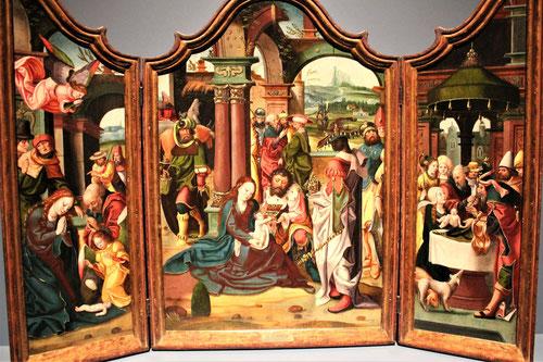 """Jan van Doornik""""El maestro de 1518""""La Adoración de los Magos (Panel central) y Natividad y Circuncisión(paneles laterales)"""