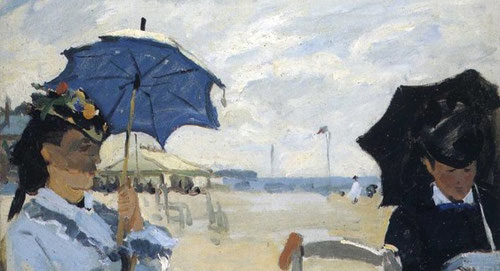 Claude Monet.La playa de Trouville 1870.Óleo sobre lienzo,38x46cm.National Gallery.Londres. Volvía cada verano a la localidad normanda a 15 Km de Hanfleur,su protagonista fue Camille su mujer,factura vibrante de primer plano a diferencia de Boudin.