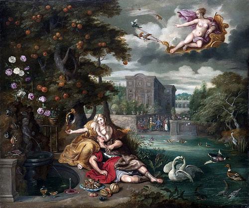 Brueghel el Joven.Alegoría del amor.1648-50.Óleo sobre cobre.88x104cm.Colección privada. Reino Unido.