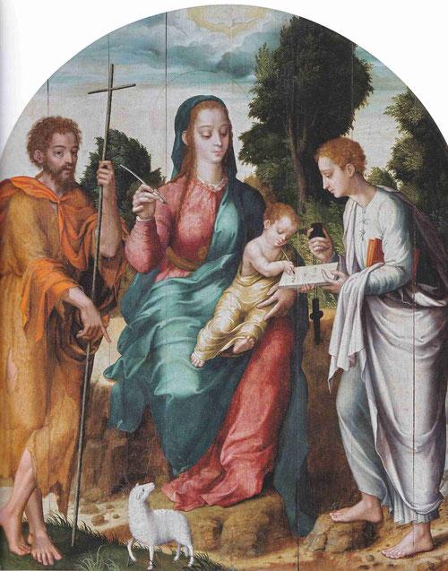 Virgen con el Niño y los Santos Juanes,1550-60,Valencia de Alcántara.La Virgen con el Niño escribiendo en el centro mientras Juan el Bautista señala al pequeño cordero.El Niño escribe en hebreo de derecha a izq. mientras el evangelista sostiene la tablila