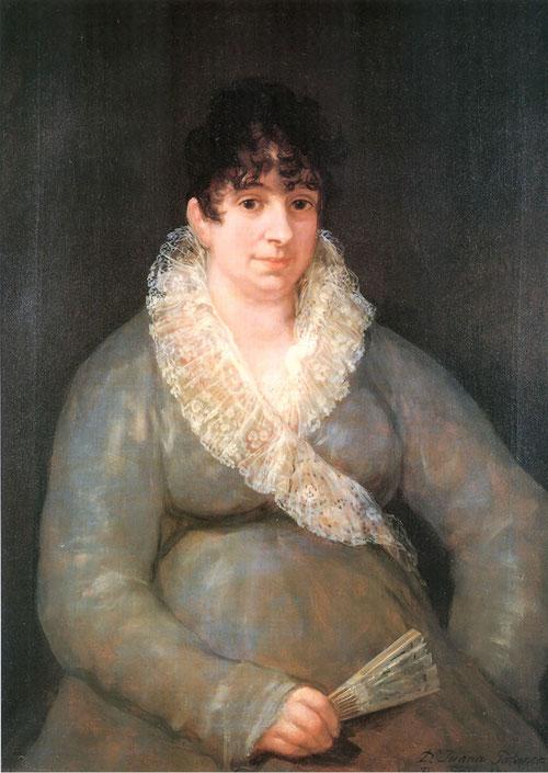 Retrato de Jauna galarza Goicoechea,1810.Pinta a sus consuegros.De formas generosa y brazos rollizos de rasgos poco agraciados pero saludable.Se trata del mismo año en que empezó a trabajar Los desastres de la Guerra.
