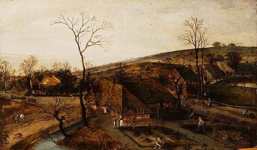 La primavera de Grimmer.1577. A partir del SXVI se empezaron a pintar ls estaciones diferentes para los calendarios flamencos, con el mismo espíritu que las obras de Bruegel.Duro trabajo en el huerto,podar árboles,rastrillar tierra.Composición ortogonal.