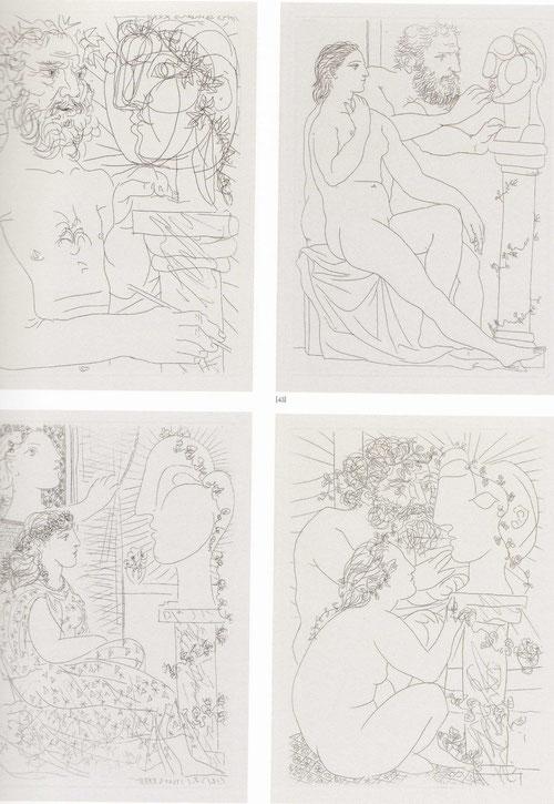 1-Escultor en el trabajo,1933/2-Escultor,modelo y busto 1933/ 3- Dos modelos vestidas/ 4-Escultor,modelo y cabeza,todos son cobre,aguafuerte sobre papel verjurado de Montval 26x19cm