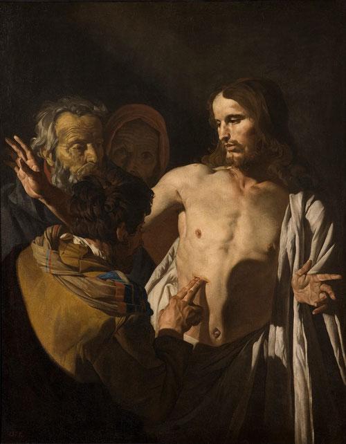 Mathias Stom.La incredulidad de Sto Tomas.Óleo sobre lienzo 125x99cm.Museo del Prado Madrid.