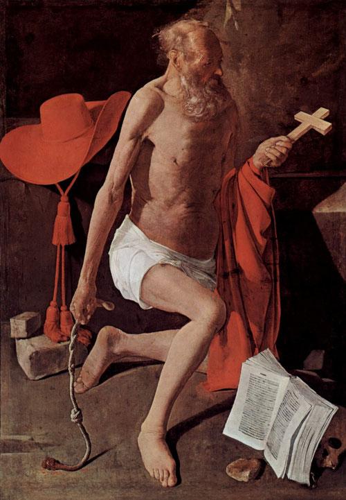 San Jeronimo penitente.Óleo sobre lienzo.157x100cm.Musée de Grenoble.Audacia en el tratamiento del espacio,San Jerónimo es el traductor de la Biblia en latín,la famosa Vulgata.Revestido de púrpura cardenalicea sostiene la cruz y en la otra el flagelo.