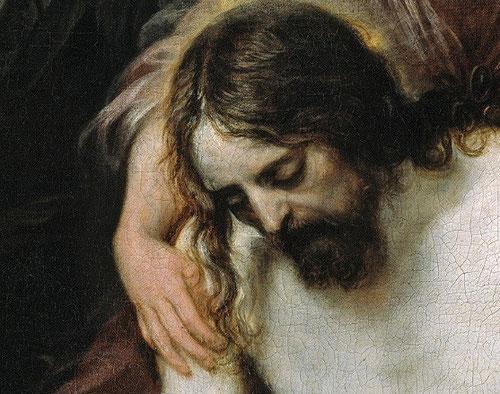 Detalle.El ángel sostiene suavemente el Cristo, el artista rehúye de lo patético y nos muestra el drama con mesura, destaca la blancura del cuerpo inerte de Cristo.