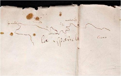 Aunque desaparecidos los diarios originales de Colón en sus 4 viajes, parece un cuaderno de a bordo del viaje del descubrimiento del nuevo mundo. Trazado esquemático de la isla La Española.