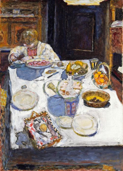 La mesa. Bonnard fue un pintor intimista, plasmó su mundo cotidiano y vida familiar en la intimidad de su hagar, expresando sentimientos como la ternura, soledad..