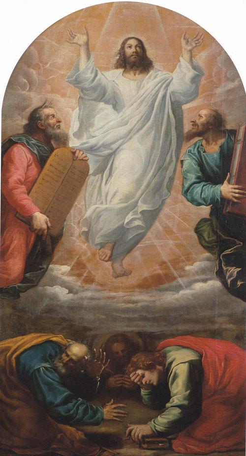 Vicente Carducho nace en Florencia y se traslada a España para participar en la decoración del Escorial,la Encarnación,el Paular y el Buen Retiro.La Transfiguración,1633,Mt 17,Mr 9,Lc9 representa a Jesús orando en el monte Tabor con Moises y Elias.
