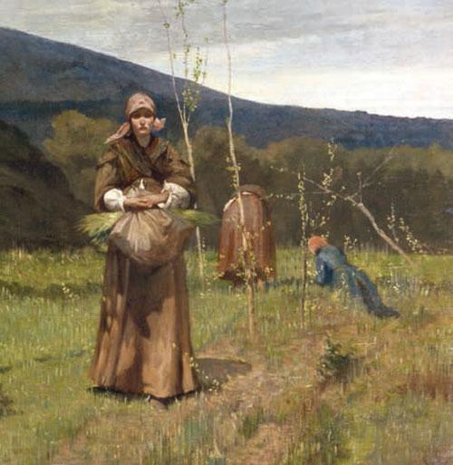 G. Fattori.Le Machiaiole, alrededores de Livorno, cerca de Antignano..Óleo sobre lienzo.90x180cm. Colección particular. Detalle.