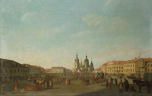 """Benjamin Patersson. Vista de la Plaza de Sennaya, o """"mercado del heno"""". Al fondo la Iglesia de la Asunción.Creó un modelo tan convincente y atractivo que todavía hoy contemplamos a través de sus ojos."""