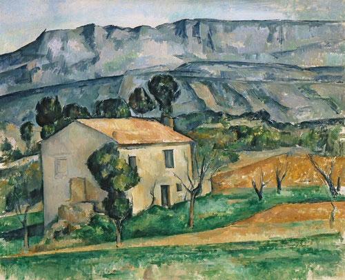 """Casa en Provenza,Cézanne, representa el """"ojo prensil"""", un acantilado vertical sirve de fondo a una casa sellada, sin signo de vida ni presencia humana, construcción magnífica en poliedro."""