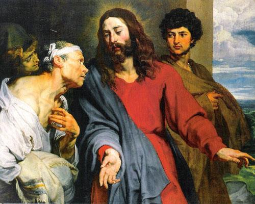 Van Dyck. Curación del paralítico,1618-20.Óleo sobre lienzo, 120X148cm.Colección de la Reina de Inglaterra, Isabel II. La figura de Cristo mantiene una nobleza intensa y la figura del paralítico más solemne de lo habitual, notable inpronta de Rubens.
