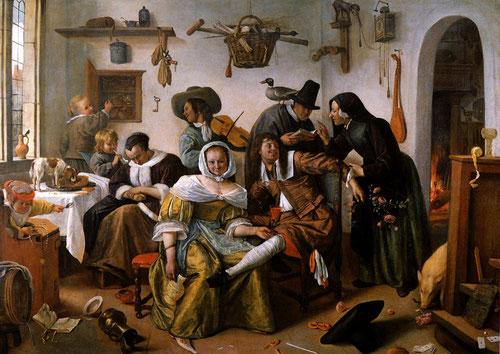 Jan Steen.Cuidado con el lujo 1663.Óleo sobre lienzo 104x145cm.Viena,Kunthistorrisches Museum. La temática moralizante fue sustrato común entre ambos paises y toda Europa.