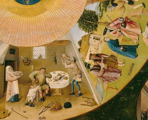 Detalle 7 pecados capitales:La Gula, 4 personajes asisten a un banquete comiendo y bebiendo con avaricia mientras la mujer coloca una vianda.El niño presencia el mal ejemplo. Al lado la AVARICIA,donde un juez lejos de impartir justicia acepta el soborno
