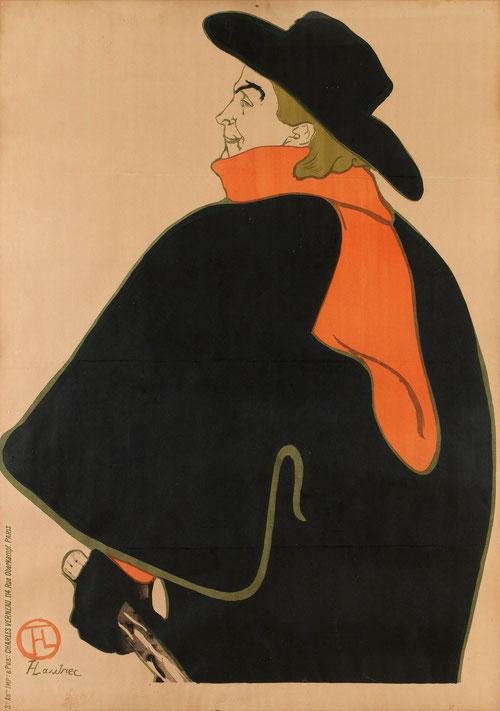 Toulouse Lautrec.Aristide Bruant dans son cabaret 1893. Litografía en color.138x100cm.Victoria&Albert Museum.Londres.Nos ha dejado como ilustrador toda una serie de imágenes a los que se sentía vinculado, bajos fondos,punto de vista bajo: monumentalidad.