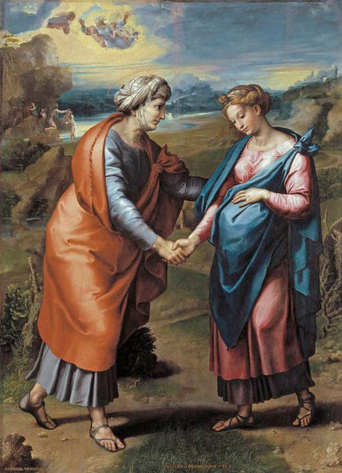 """Giulio Romano y Gianfrancesco Penni, La Visitación.1517. Óleo transferido a lienzo.200x145cm.Inscrito """"RAPHAEL URBINAS,F""""""""MARINUS.BRONCONIS"""" (el hijo que actuaba en representación a su padre, el comitente). Museo del Prado."""