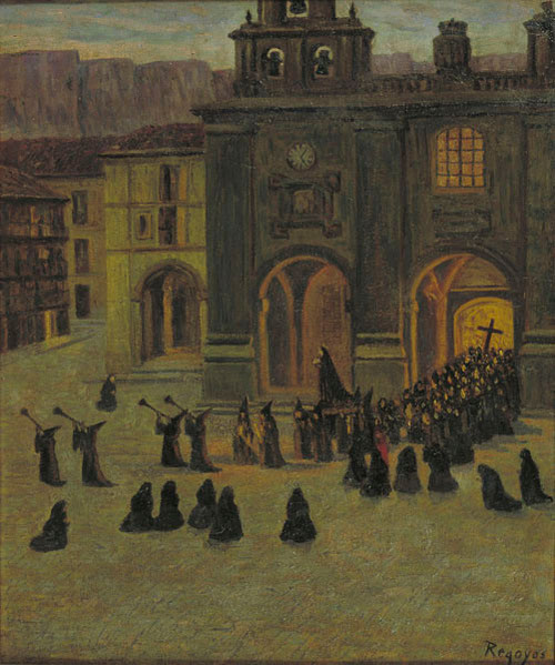 Darío de Regoyos. Madrugada de Viernes Santo en Orduña.Óleo sobre lienzo.65x54cm.Museo Nacional de Arte de Cataluña.