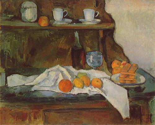 Paul Cézanne.El aparador 1877-79..Quizá la más bella de las naturalezas muertas de su etapa impresionista.Pinceladas cortas y rectas creando una red de líneas verticales,horizontales desarrollando un planteamiento personal y su particular visión del mundo