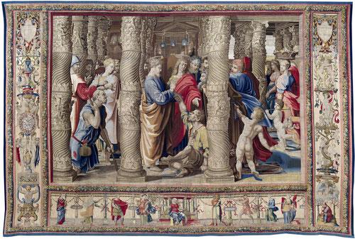 LA CURACIÓN DEL PARALÍTICO.La escena extraída de los Hechos de los Apóstoles.