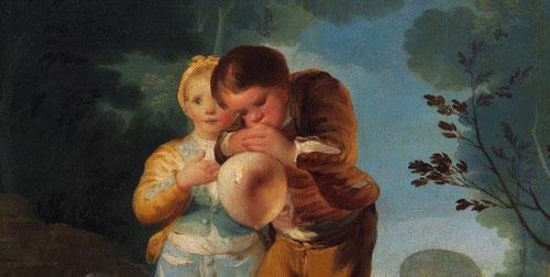 Detalle de niños inflando una vejiga,1778,Museo del Prado. Los nuevos conocimientos sobre la presión atmosférica,  son conceptos nuevos bajo el gracioso juego infantil y los profanos esfuerzos para dominar la naturaleza