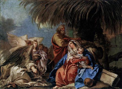 Giandomenico Tiepolo. El descanso en la huida a Egipto, 1752.Rostros angélicos de gran belleza,enigmáticas sombras,árboles que ofrecen protección a la Sagrada Familia. Obra maestra llena de amor.