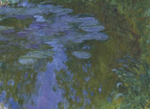 Claude Monet.Nenúfares,1914-17.Òleo sobre lienzo.150x200cm.Foundation Beyeler.Basilea.La producción textil de los años 90 ahonda el empeño del artista en la dimensión monumental de los reflejos proyectados de la luz,como ppal actor de la naturaleza.