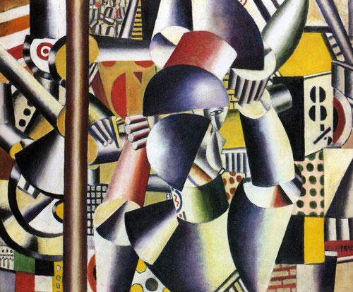Fernand Léger(1881-1955).Los acróbatas en el circo.1918. Cubista con inicios impresionistas, emprendió una obra personalísima y hermanó el arte con las máquinas y el futurismo..Plasma la sujeción y la estrechez del cuerpo en el espacio.
