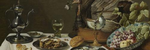 Pieter Claesz.Naturalez muerta con un pastel de pavo 1627.Óleo sobre tabla 75x132cm.Amsterdam Rijksmuseum. Todos reflejan intereses comunes: demostrar la habilidad en reproducir fielmente los objetos y evocar el status,la cultura y los valores morales.
