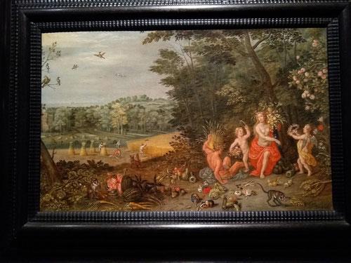 Ambrosio Brueghel.Alegorias de los elementos: Tierra.1645.Óleo sobre lienzo.37x56cm.Colección privada.