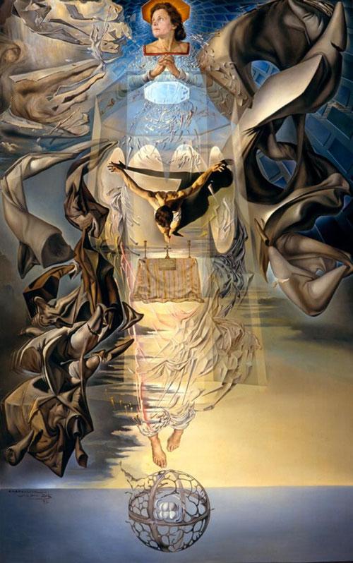 Dalí, Assumpta corpuscularia lapislazulina,1952. Dos conceptos:espacio y tiempo que trascienden la obra para mostrar a Cristo envuelto en sudario que asciende hacia Maria...(Retrato de Gala, su mujer)